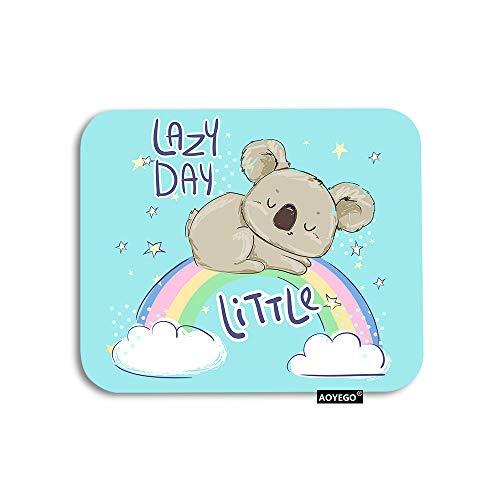 AOYEGO Koala Mouse Pad Cute Animal Sleeping Koala On Rainbow Cloud Stars Doodle Polka Dot Gaming Mousepad Rubber Large Pad Non-Slip for Computer Laptop Office Work Desk 9.5x7.9 Inch