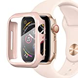 PZOZ Kompatibel mit Apple Watch 40mm Series 5/4 Hülle mit PET Bildschirmschutz, iWatch Sehr stark PC Schutzhülle, All-Aro& Schutz Hülle Smartwatch zubehör(40mm, Rosa)