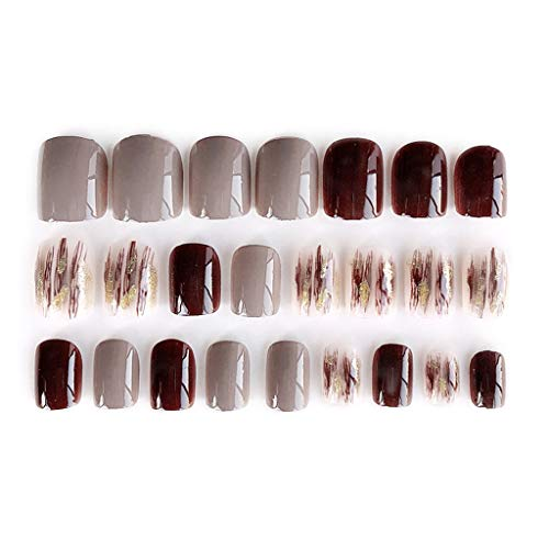 MEIKONG Mode 24pcs / Set Rendu Ongles Acrylique Faux Ongles Full Cover Faux Ongles Simple Moyen-Long Taille Taille Lady Full Nail Conseils Patch Court Nail Art DIY avec du Ruban Double Face