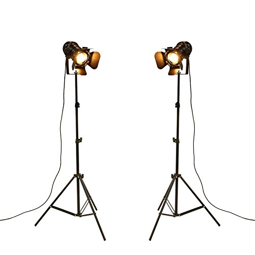 YUENSLIGHTING Lampada da terra a LED vintage industriale No Dimmable Full Spectrum Luce da giorno naturale da esterno con treppiede a collo di cigno per soggiorno Camera da letto ufficio Bar Illuminaz