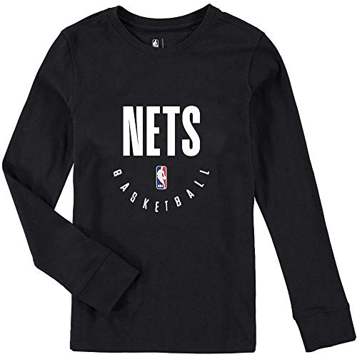 Outerstuff NBA Youth 8-20 Performance Elite Practice Long Sleeve T-Shirt (Large 14/16, Brooklyn Nets Black)