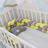 Yoommd Protector de bordes de la cama para cuna, con 4 hebras, longitud 3 m