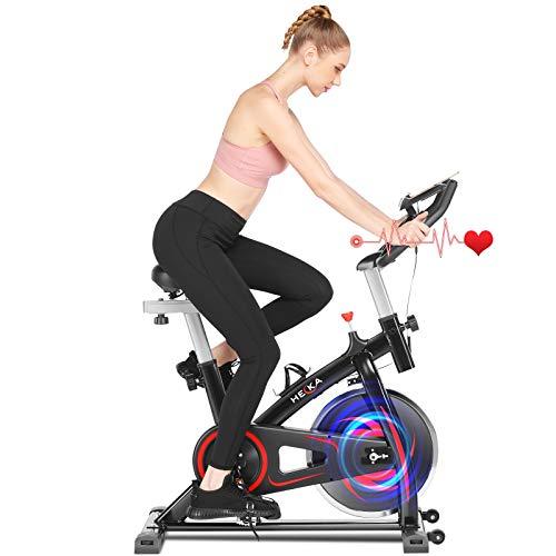 Heka Cyclette per Casa, Cyclette Professionale da Casa Bicicletta per Allenamento Spinning Bike Indoor, Cyclette Resistenza Regolabile con Schermo LCD e Cardiofrequenzimetro, Peso massimo 150 kg