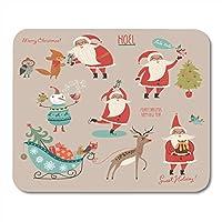 マウスパッドヴィンテージグリーンクッキースタイリッシュな新年と赤い休日のクリスマスサンタマウスマットマウスパッドノートブックデスクトップコンピューターに適したマウスパッド