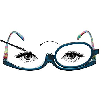 LianSan OTC Readers Makeup Glasses Flip Down Lens Folding Cosmetic Womens Make Up Reading Glasses L3660 +1.00,BLUE