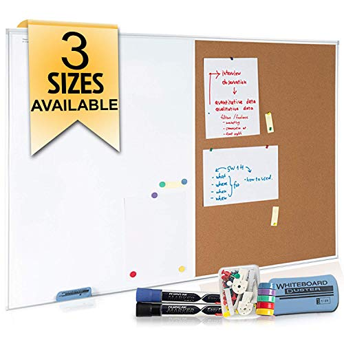 White Board and Cork Board Combination 48 x 36 , Large Magnetic Bulletin Board for Home or Office, Versatile Wall Mounted Dry Erase Board | Message & Memo Board | Markers, Eraser, Push Pins Included