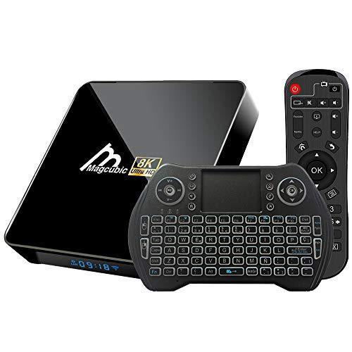 Android TV Box 10.0 4GB 32GB Amlogic S905X3 Decodificador Smart TV Box con teclado inalámbrico retroiluminado USB 3.0 ultra HD 4K 8K HDR WiFi 2.4GHz 5.8GHz BT 4.1 Reproductor Multimedia de Transmisión