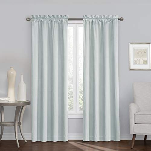 """ECLIPSE Blackout Curtains for Bedroom-Canova 42"""" x 84"""" Insulated Darkening Single Panel Rod Pockets Window Treatment Living Room, River Blue"""
