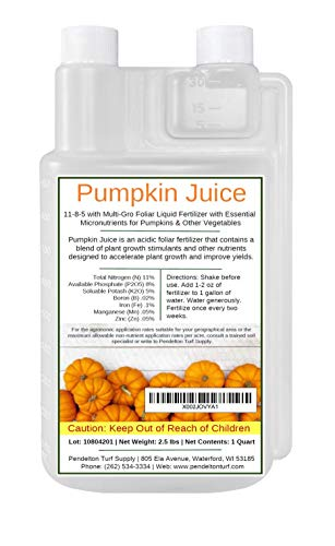 Pumpkin Juice 11-8-5 - Foliar Liquid Fertilizer with Essential Micro-nutrients for Pumpkins and Vegetables (1 Quart)