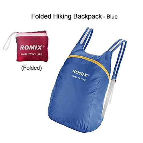Escomdp des Sacs Sac à Dos Sac d'école Pliant Sac à Dos 75 g Imperméable en voyageant Camping Randonnée Capacité 18L (Bleu)