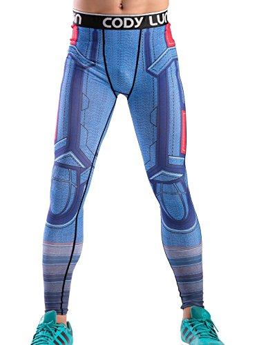 Cody Lundin Impreso Polainas Masculina de película héroe Logo Hombres Pantalones Largos Fitness Culturismo Apretado (M, Color-e)