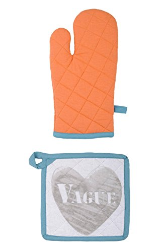 Lovely Casa Stone Gant/Manique, Coton, Orange, 30 x 20 cm
