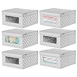mDesign Juego de 6 cajas organizadoras de tela – Caja de almacenaje apilable...
