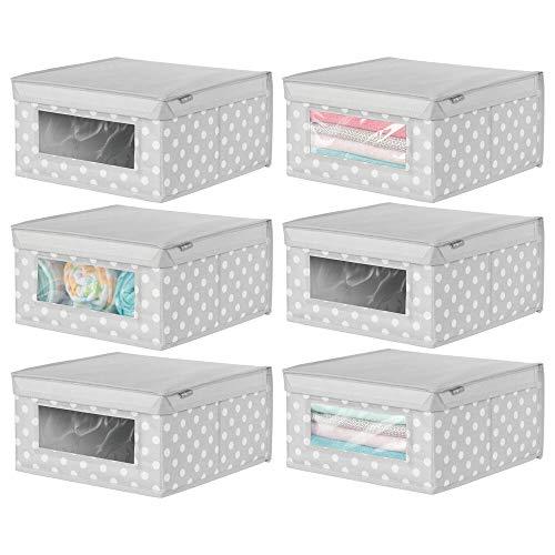 mDesign 6er-Set Aufbewahrungsbox aus Stoff – stapelbare Stoffbox zur Ablage von Kleidung oder Schuhen und als Schrankbox – Aufbewahrungskiste mit Deckel und Sichtfenster – hellgrau/weiß