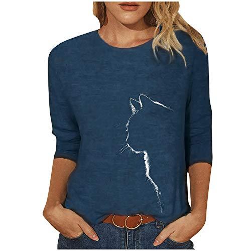 Damen Sweatshirt Langarmshirt mit Katzenmotiv Tierdruck Oberteile Herbst Winter Rundhals Casual Loose Pullover