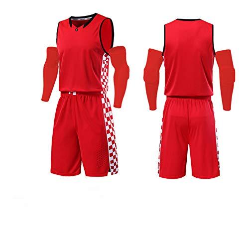 LIUGJ Basketballuniform, Basketballuniform Anzug benutzerdefinierte männlichen Studenten Wettbewerb Team Uniform Kentucky Trikot weiblichen Sport Training atmungsaktiv Druck-red-XL