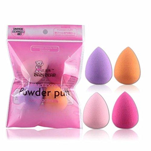 Lumanuby 4 éponges de Maquillage, cosmétiques, beauté Maquillage Parfait, Blender, éponges en Forme de Goutte d'eau, Fond de Teint, pour Femmes Filles