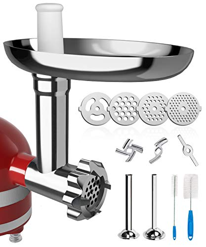 X Home Meat Grinder Attachment for Kitchenaid Stand Mixer, Durable Metal Food Grinder Attachment with 2 Sausage Stuffers, 3 Grinding Blades, 4 Grinding Plates, Not Dishwasher Safe