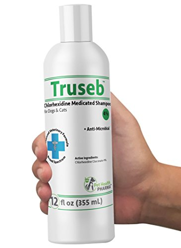 Truseb | #1 Chlorhexidine 4% Shampoo for Dogs, puppies & Cats Antibacterial & Antimicrobial Medicated Shampoo against Bacterial Skin Conditions Broad Spectrum Vet Formula (12 Ounce)