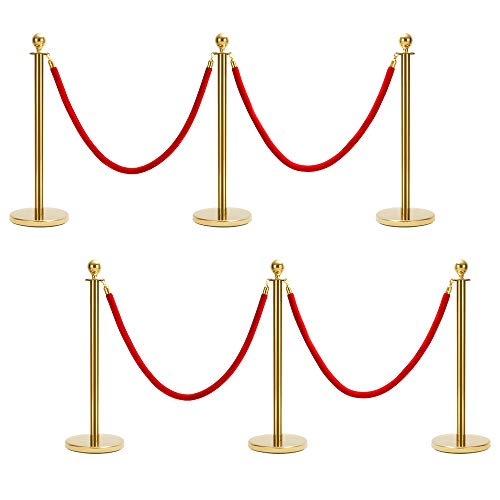 Mornon Queue Rope Barrier Post Stand, Red Carpet Round Top Polished Brass Stanchion Posts Queue Barrier,Stainless Steel Queue Crowd Control Barrier Post Line with 4.92ft Red Velvet Rope, Gold