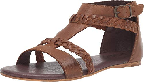 Roan Posey Women's Sandals - Leather Dress Sandal - Back Zip Closure - Flat Sandals for Women - Tan