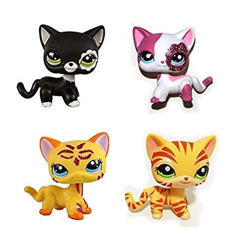 Pet Shop Juguetes LPS Raras de pie Forma máscara de Gato de Pelo Corto (Elegir su Gato) para niños Regalo 1pc, 2249+#2291+#1451+#2118