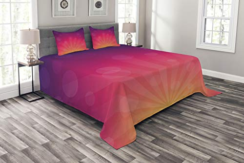 Ambesonne Orange and Pink Bedspread, Ombre Inspired Background Circles and Banners, Decorative Quilted 3 Piece Coverlet Set with 2 Pillow Shams, Queen Size, Orange Purple