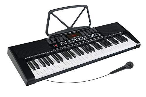 McGrey LK-6120-MIC Keyboard - Einsteiger-Keyboard mit 61 Leuchttasten - 255 Sounds und 255 Rhythmen - 50 Demo Songs - Inklusive Mikrofon - Schwarz