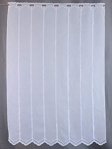 Scheibengardine Borte Lochstickerei weiß Höhe 30/45/60/90 oder 120cm | Breite der Gardine frei wählbar in 10,5cm Schritten | Gardine | Panneaux | (Höhe 120cm)