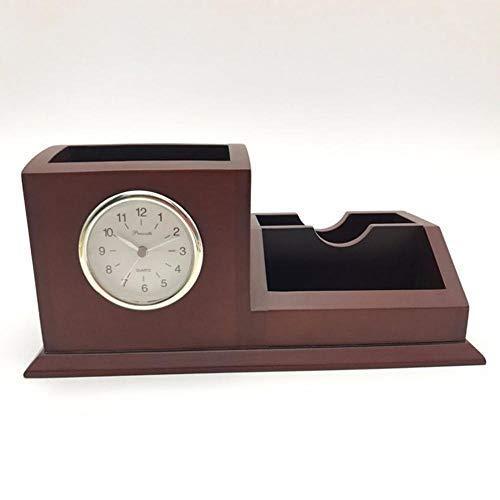 ZJZ Relojes de repisa, Reloj Creativo de Madera Maciza para Oficina, Reloj de Negocios, 23 * 11,4 * 10,6 cm