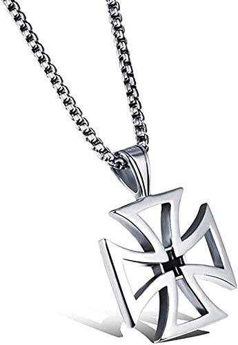 BEISUOSIBYW Co.,Ltd Necklace Fashion Men s Hollow Knights Templar Cross Pendant Necklace Maltese Iron Cross Fashion Stainless Steel Male Jewelry