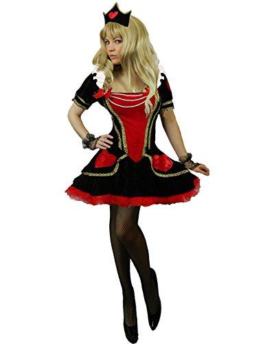 Yummy Bee - Alice im Wunderland Karneval Fasching Königin der Herzen Samt Kostüm + Handschuhe Krone Damen Größe 34 - 50 (44-46)