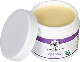Best Night Cream Natural USDA Certified Organic Night Cream By BeeFriendly, Anti Wrinkle, Anti Aging, Deep Hydrating & Moisturizing Night Time Eye, Face, Neck & Decollete Cream for Men and Women 2 oz