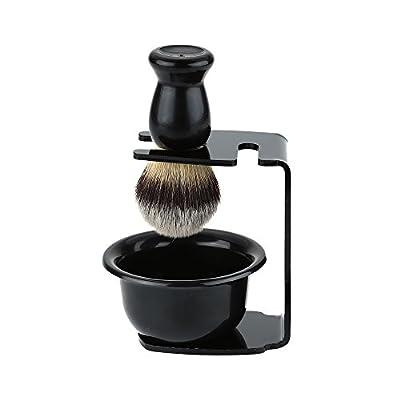 3 In 1 Shaving Brush Kit- Shaving Frame Base & Shaving Soap Bowl & Bristle Hair Shaving Brush, Men's Shaving Set Shaving Brush with Acrylic Shaving Stand Holer Perfect for Men's Wet Shaving