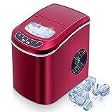Máquina de hielo,VAZILLIO Máquinas para hacer hielo,Cantidad de hielo 15Kg /24H, 2 Tamaños de Cubitos, Fabricador de Hielo Portátil Encimera con Tanque de Agua 2.3 L Cesta de Hielo (rojo)