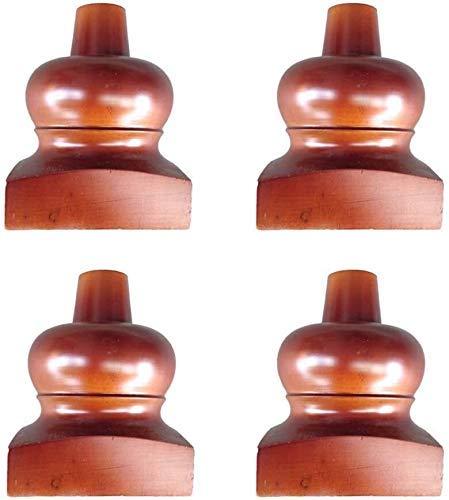 Juego de 4 Patas de sofá de Madera Maciza con Ruedas, Patas Redondas para Muebles de Madera, Patas de Calabaza, para sofá, sofá, Patas de Mesa de 10 cm / 3,9 Pulgadas