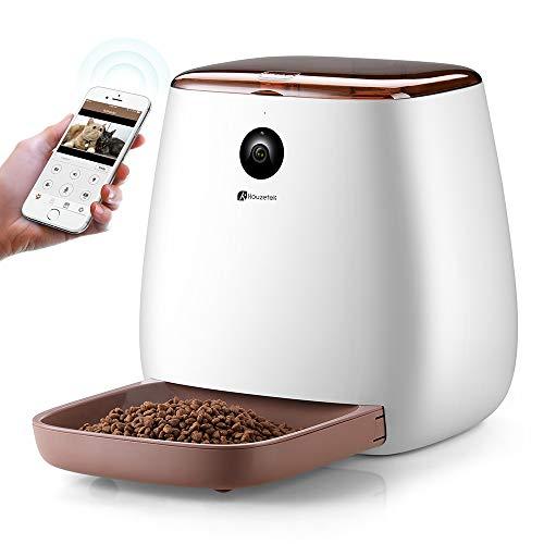 Houzetek Distributeur Croquettes pour Chat/Chien avec WiFi Caméra HD 1080p Distributeur électronique de Croquettes pour Animaux Chiens et Chats Messagerie Vocale Vision Nocturne 3.3L