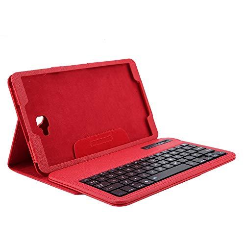 Funda con Teclado para 10.1 Pulgadas Tableta Sumsung, Teclado Bluetooth inalámbrico + Cubierta de Cuero PU para Sumsung Tab A 10.1in T580(Rojo)