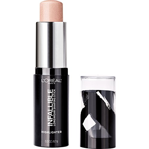 L'Oreal Paris Makeup Infallible Longwear Highlighter Shaping Stick, Up to 24hr Wear, Buildable Cream Highlighter Stick, 41 Slay in Rose, 0.3 oz.