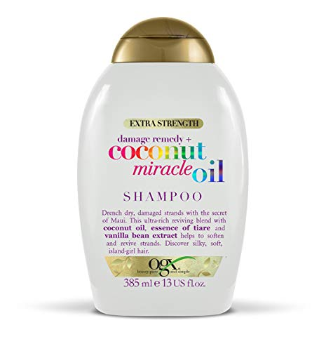 OGX Coconut Miracle Oil Sulfate Free Shampoo for Damaged Hair, Extra Strength, 385 ml