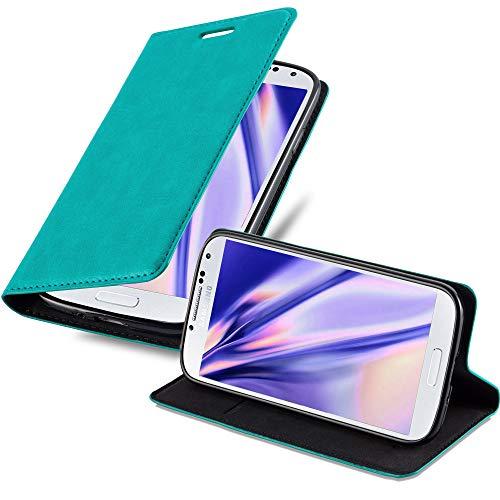 Cadorabo Funda Libro para Samsung Galaxy S4 Mini en Turquesa Petrol – Cubierta Proteccíon con Cierre Magnético, Tarjetero y Función de Suporte – Etui Case Cover Carcasa