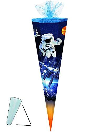 alles-meine.de GmbH Schultüte -  Space - Astronaut - Raumfahrer  - 85 cm - eckig - Tüllabschluß - Zuckertüte - mit / ohne Kunststoff Spitze - Markneukirchen - für Jungen - Raum..