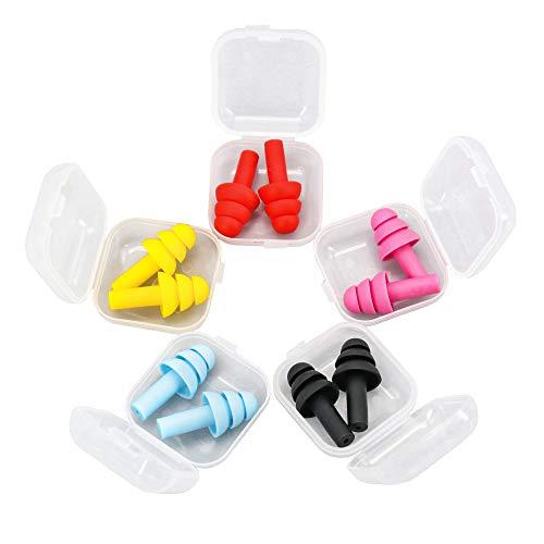 Tapones para los oídos para dormir con cancelación de ruido (5 pares) de silicona suave, cómodos y reutilizables, protección auditiva contra ronquidos de natación