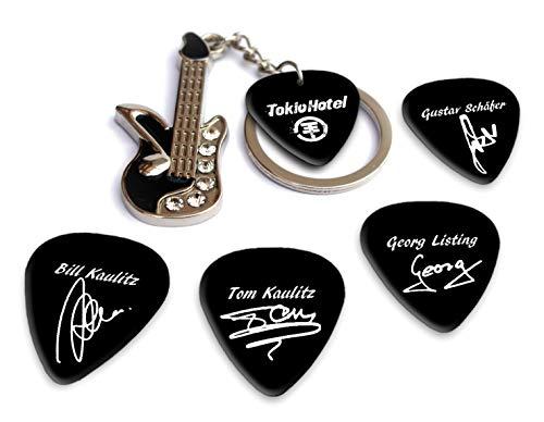 Tokio Hotel Mini Metal Gitarre & Pick Keyring With Plectrums (H) Schlüsselanhänger