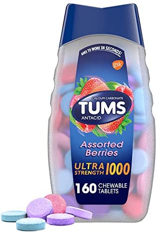 Tums Ultra Strength 1000 ,Antacid Chewable Tablets, Assorted Berries, 160-Count Bottle