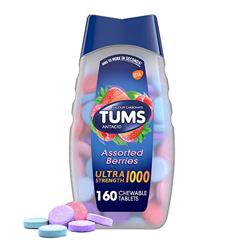 TUMS Ultra Strength Antacid Tablets for Chewable Heartburn Relief and Acid Indigestion Relief Assorted Berries  160 Count