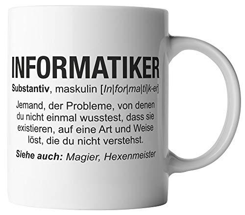 Informatiker Tasse - Wikipedia Spruch Motto Motiv Berufe Geschenk für Programmierer - beidseitig Bedruckt - Geschenk Idee Kaffeetassen mit Spruch, Tassenfarbe:Weiß