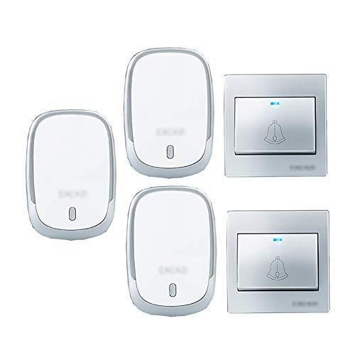Muur plug-in draadloze deurbel, IP44 waterdichte deurbel met 2 drukknoppen en 3 plug-in ontvanger 4 instelbare volumeniveaus en 36 klokken,B