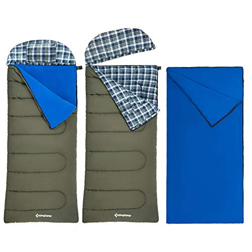 """KingCamp 3-in-1 Rectangle Flannel Sleeping Bag Oversize 90.5""""×35.4"""" 3-4 Season 100% Cotton Sleeping Bags with Washable Liner, Pillow and Portable Handbag for Camping"""