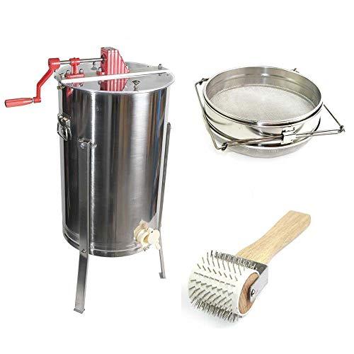 GOODLAND BEE SUPPLY 2 Frame Honey Extractor, Uncapping Roller, and Stainless Steel Sieve Honey Strainer - GL-E2-UR/STR